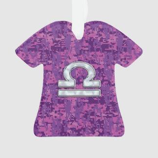 Libra Zodiac Symbol Fuchsia Pink Digital Camo Ornament