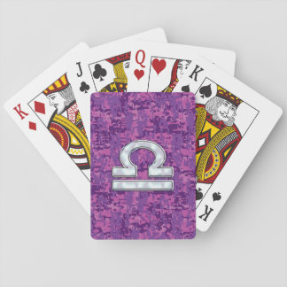 Libra Zodiac Symbol Fuchsia Pink Digital Camo Playing Cards