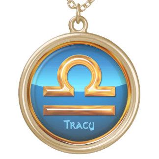 Libra Zodiac Symbol Gold Plated Necklace