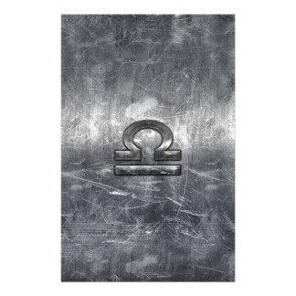 Libra Zodiac Symbol in silver grunge steel style Flyer
