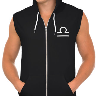 Libra Zodiac Symbol Men s Black Zip Hoodie