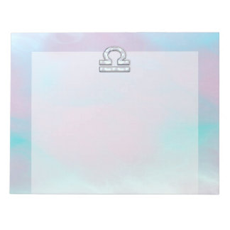 Libra Zodiac Symbol Mother of Pearl Style Notepad