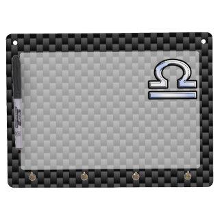 Libra Zodiac Symbol on Carbon Fiber Decor Dry Erase Board With Keychain Holder
