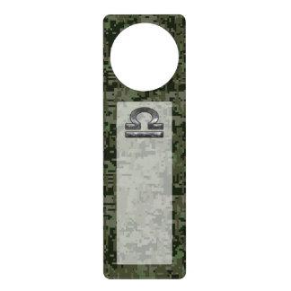Libra Zodiac Symbol on Green Digital Camouflage Door Hanger