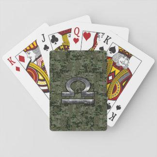 Libra Zodiac Symbol on Green Digital Camouflage Playing Cards