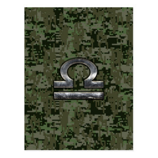 Libra Zodiac Symbol on Green Digital Camouflage Postcard