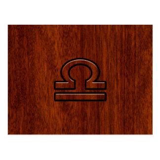 Libra Zodiac Symbol on Mahogany Postcard