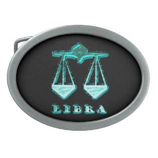 Libra Zodiac Symbol Oval Belt Buckle
