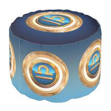 Libra Zodiac Symbol Pouf