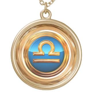 Libra Zodiac Symbol Round Pendant Necklace