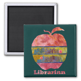 Librarian Apple 2 Inch Square Magnet