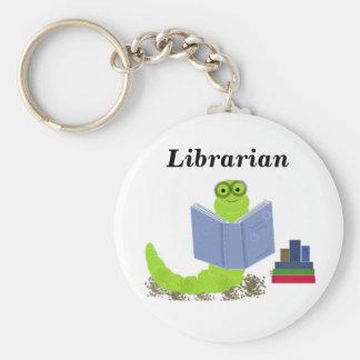 Librarian - Bookworm Basic Round Button Keychain