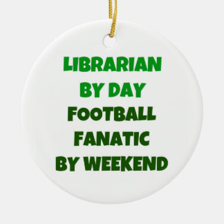 Librarian by Day Football Fanatic by Night Double-Sided Ceramic Round Christmas Ornament