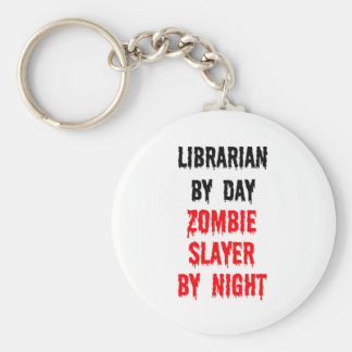 Librarian By Day Zombie Slayer By Night Basic Round Button Keychain