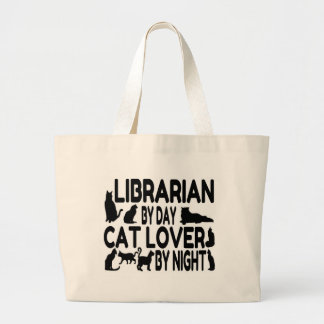 Librarian Cat Lover Large Tote Bag