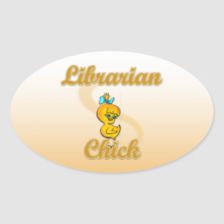 Librarian Chick Oval Sticker