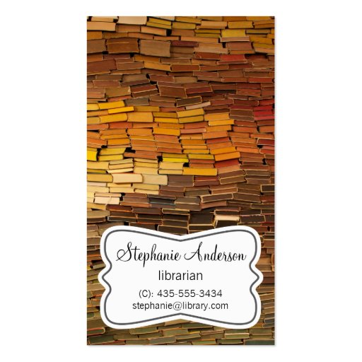Librarian Colorful Books Business Card