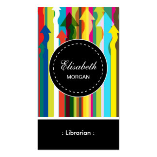 Librarian- Colorful Stripes Pattern Double-Sided Standard Business Cards (Pack Of 100)