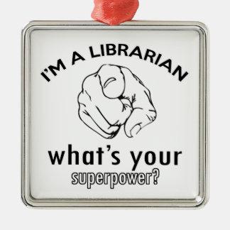 Librarian design metal ornament