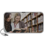 Librarian helping student with research in iPhone speaker