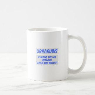 Librarian Joke .. Genius and Insanity Classic White Coffee Mug