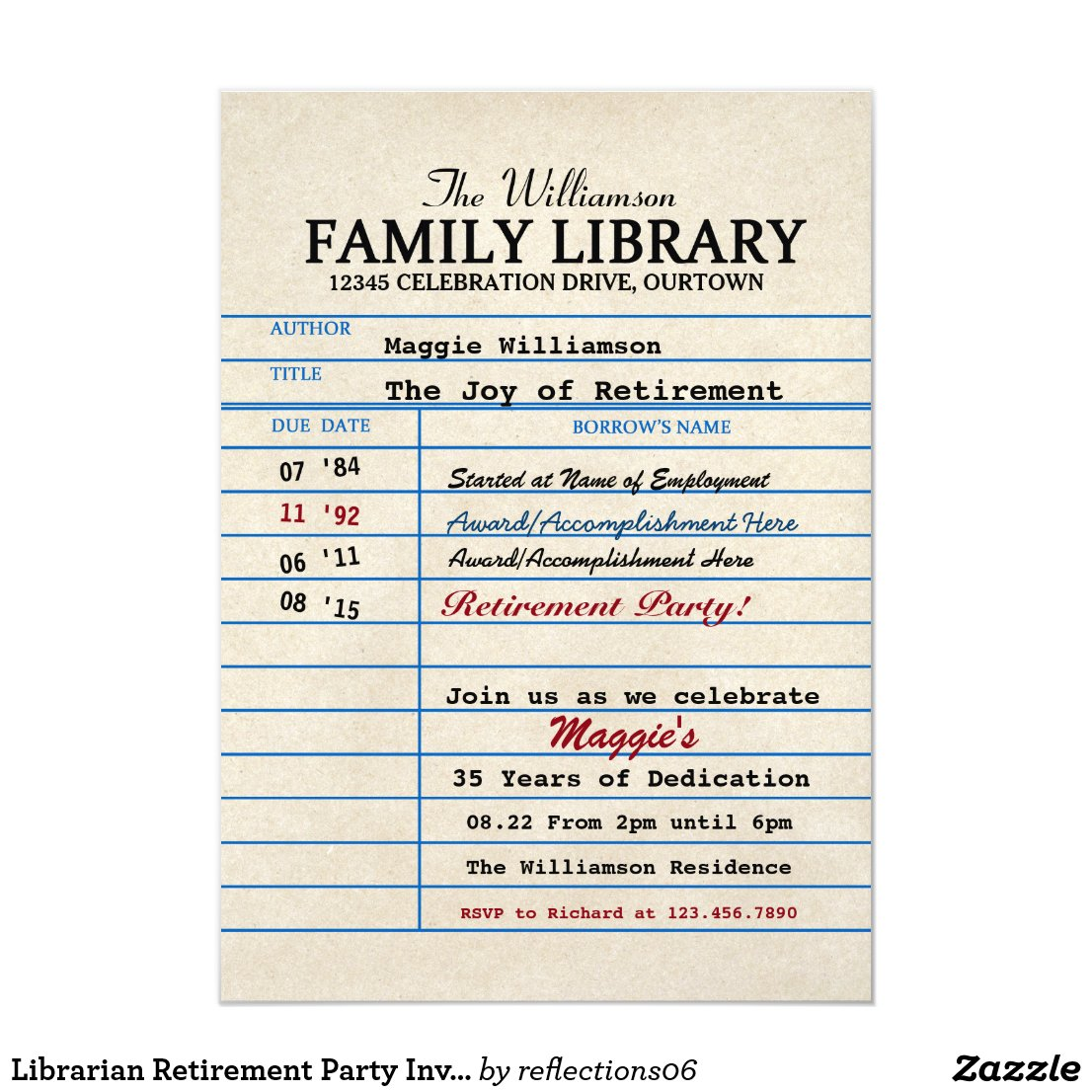 Librarian Retirement Party Invitations