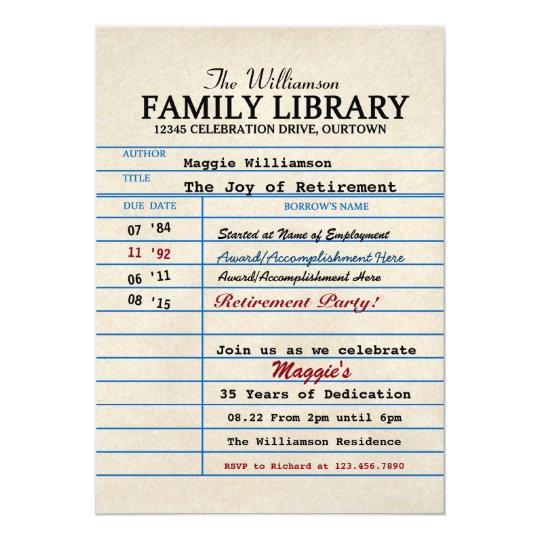 librarian retirement party invitations zazzle com