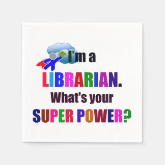Librarian Superhero - Bold Colorful Text Design Paper Napkin