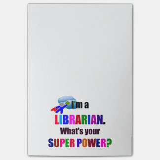Librarian Superhero - Bold Colorful Text Design Post-it Notes