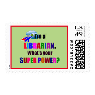 Librarian Superhero - Bold Colorful Text Design Postage