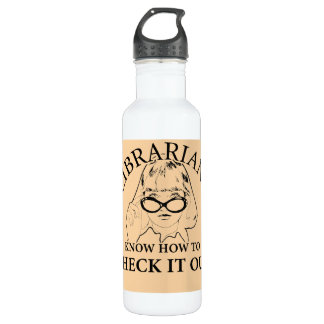 LIBRARIANS KNOW HOW TO CHECK IT OUT 24OZ WATER BOTTLE
