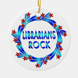 Librarians Rock Double-Sided Ceramic Round Christmas Ornament