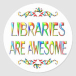 Libraries are Awesome Round Sticker