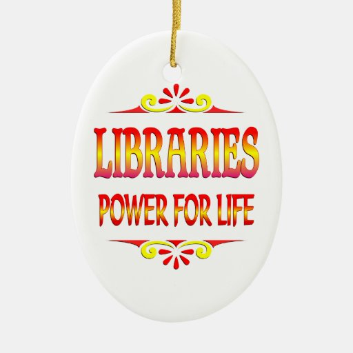 Libraries Power for Life Double-Sided Oval Ceramic Christmas Ornament