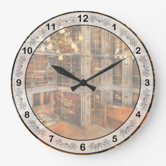 Library - A literary classic 1905 Large Clock