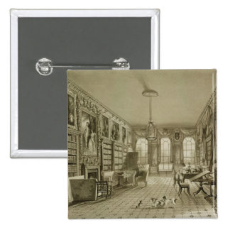 Library as Sitting Room, Cassiobury Park, c.1815, Pinback Button