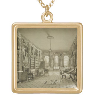 Library as Sitting Room, Cassiobury Park, c.1815, Square Pendant Necklace