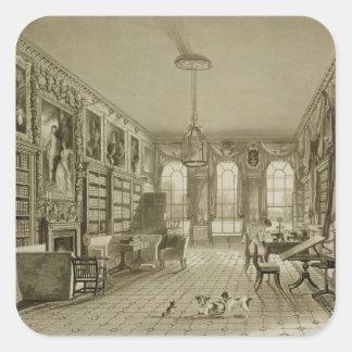 Library as Sitting Room, Cassiobury Park, c.1815, Square Sticker