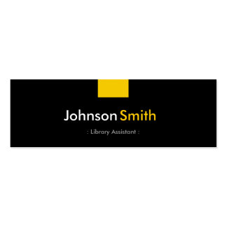 Library Assistant - Amber Yellow Compact Double-Sided Mini Business Cards (Pack Of 20)