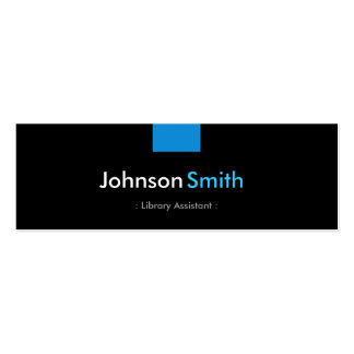 Library Assistant - Aqua Blue Compact Double-Sided Mini Business Cards (Pack Of 20)