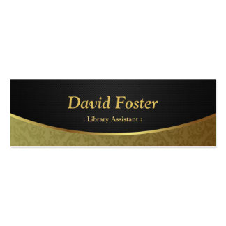 Library Assistant - Black Gold Damask Double-Sided Mini Business Cards (Pack Of 20)