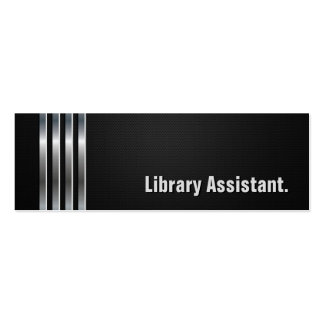 Library Assistant - Black Silver Stripes Double-Sided Mini Business Cards (Pack Of 20)