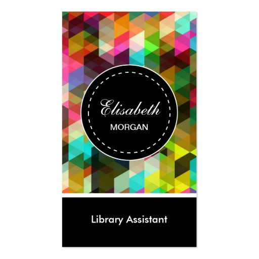Library Assistant- Colorful Mosaic Pattern Business Card Templates
