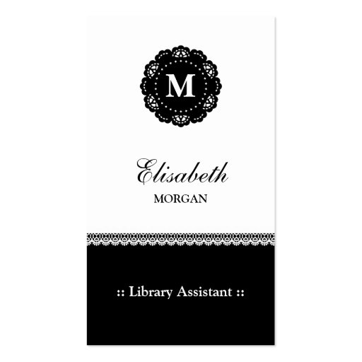 Library Assistant - Elegant Black Lace Monogram Business Card