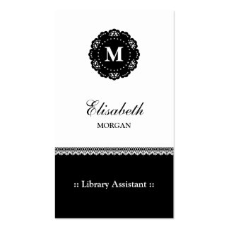 Library Assistant - Elegant Black Lace Monogram Double-Sided Standard Business Cards (Pack Of 100)