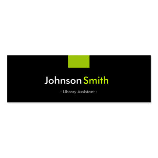 Library Assistant - Mint Green Compact Double-Sided Mini Business Cards (Pack Of 20)