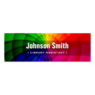 Library Assistant - Radial Rainbow Colors Double-Sided Mini Business Cards (Pack Of 20)
