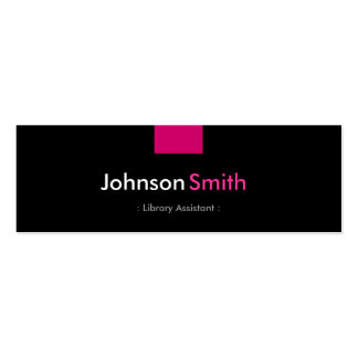 Library Assistant - Rose Pink Compact Double-Sided Mini Business Cards (Pack Of 20)