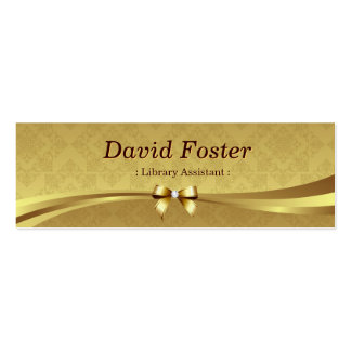 Library Assistant - Shiny Gold Damask Double-Sided Mini Business Cards (Pack Of 20)