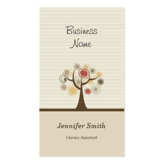 Library Assistant - Stylish Natural Theme Business Card Templates